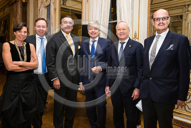 BRUSSELS - BELGIUM - 08 November 2016 -- 25th anniversary of the foundation of the European Confederation of SME Associations 'CEA-PME'. -- Valérie Guimard, Vice-president of European Entrepreneurs CEA-PME and president of AFDEE; Patrick Meinhardt, BVMW Co-director for Politics and Europe, and in charge of cooperating with CEA-PME; Mario Ohoven, President of European Entrepreneurs CEA-PME and BVMW e.V. (D); Didier Reynders, Vice-Prime Minister of Belgium, and Minister for Foreign & European Affairs and Foreign Trade Maurizio Casasco, Vice-President of European Entrepreneurs CEA-PME; Walter Grupp, Secretary General of European Entreprenuers CEA-PME. -- PHOTO: Juha ROININEN / EUP-IMAGES