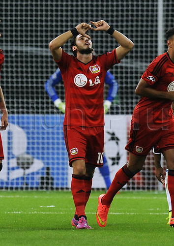 27.08.2014. Leverkusen, Germany. UEFA Champions League qualification match. Bayer Leverkusen versus FC Copenhagen.  Hakan Calhanoglu (Leverkusen) celebrates the goal for 2:0.