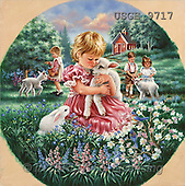 Dona Gelsinger, CHILDREN, paintings, children, lambs(USGE9717,#K#) Kinder, niños, illustrations, pinturas ,everyday