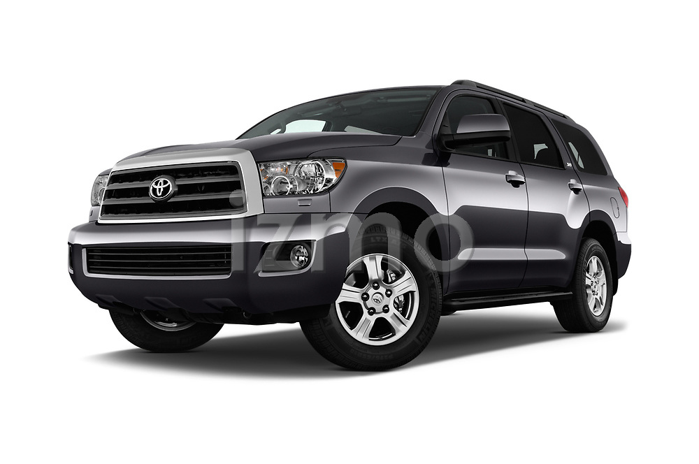 Stock pictures of low aggressive front three quarter view of a 2014 Toyota Sequoia SR5 5 Door SUV