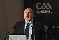 04/02/2018; GAA Handball Annual Congress 2018; Croke Park, Dublin;<br /> John Molloy addresses congress.<br /> Photo Credit: actionshots.ie/Tommy Grealy