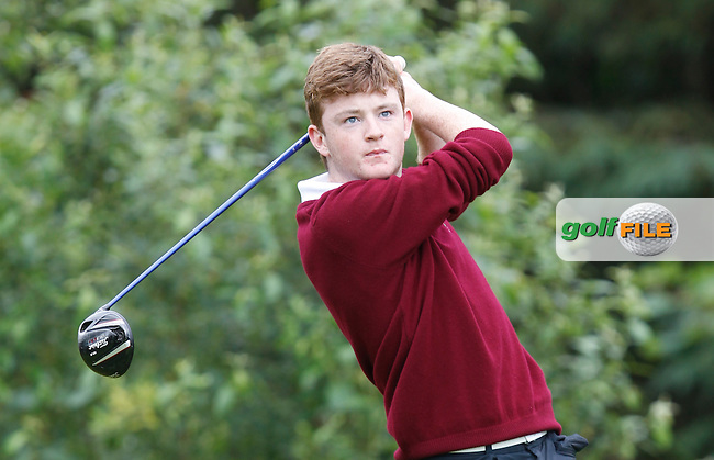 Iarla O'Mahony (Ballybunion) on the 12th tee during the Semi-Finals of the Munster Bruen &amp; Shield Finals at East Clare Golf Club on Sunday 19th July 2015.<br /> Picture:  Golffile | Thos Caffrey All photo usage must carry mandatory copyright credit (&copy; Golffile | Thos Caffrey)