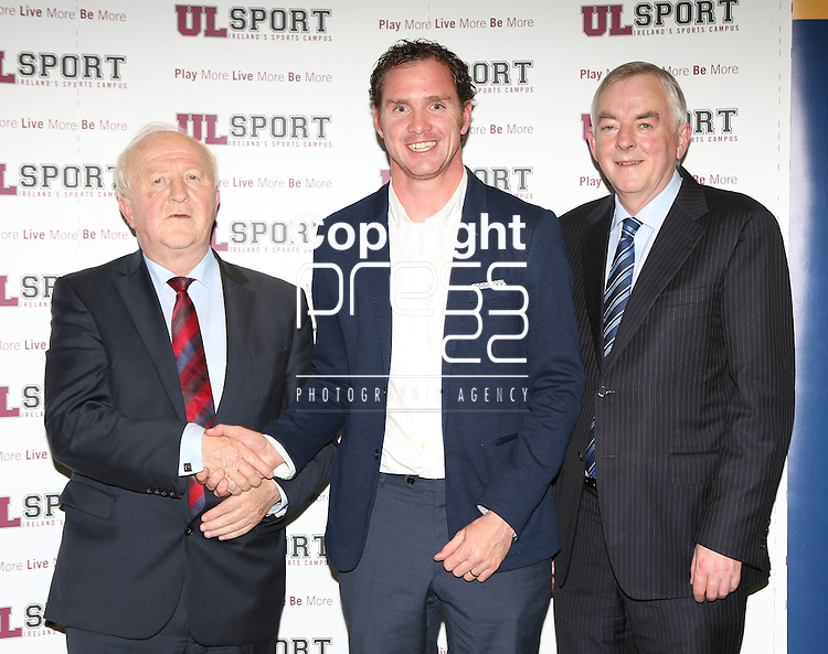 27/10/2015   With Compliments.  Attending the GAA High Performance Scholarships 2015-2016 in the Castletroy Park Hotel were Robert Frost, GAA, Munster Council Chairman who presented the Munster GAA Bursary to recipient Gerard Downes, Knockaderry, Limerick. Also in the photograph is UL President Professor Don Barry.  Photograph: Liam Burke/Press 22
