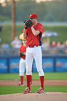 Williamsport Crosscutters starting pitcher Kyle Young (52) looks in for the sign during during a game against the Mahoning Valley Scrappers on August 28, 2018 at BB&T Ballpark in Williamsport, Pennsylvania.  Williamsport defeated Mahoning Valley 8-0.  (Mike Janes/Four Seam Images)