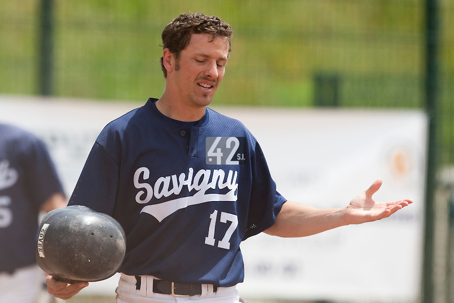 23 May 2009: Christophe Goniot of Savigny looks dejected during the 2009 challenge de France, a tournament with the best French baseball teams - all eight elite league clubs - to determine a spot in the European Cup next year, at Montpellier, France. Savigny wins 4-1 over Senart.