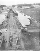 Derailment just north of Espanola depot in 1921.<br /> D&amp;RG  Espanola, NM  1921