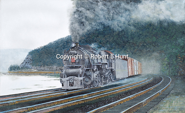 "A Pennsylvania Railroad M1 steam locomotive powered freight train pounding the PRR mainline trackage along the Susquehanna River above Harrisburg. Oil on canvas, 10"" x 16""."