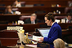 Nevada Assembly Chief Clerk Susan Furlong works on the Assembly floor at the Legislative Building in Carson City, Nev., on Tuesday, April 21, 2015. <br /> Photo by Cathleen Allison