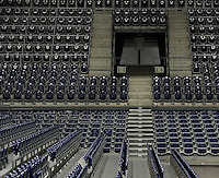HC Leipzig : DVSC Korvex - Handball Damen Women Champions League - .Nach einem souveränen 31:25 Erfolg gegen den ungarischen Vize-Meister DVSC Korvex vor 2.747 Zuschauern in der Leipziger ARENA - im Bild: leere Sitzplätze in der Arena / Stühle / seats / Zuschauerraum / Spielabsage / Spielverlegung / Saisonende.   Foto: Norman Rembarz