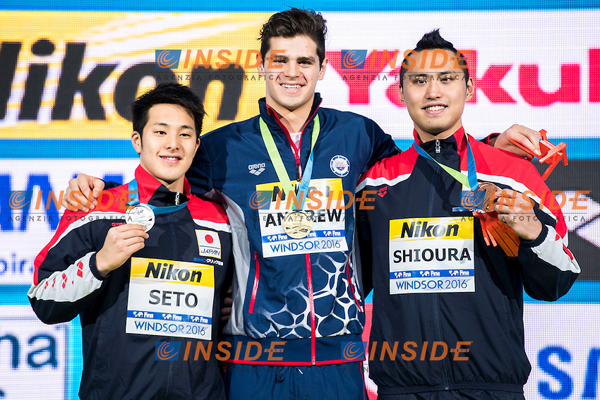 ANDREW Michael USA Gold Medal<br /> SETO Daiya JPN Silver Medal<br /> SHIOURA Shinri JPN Bronze Medal<br /> Men's 100m Individual Medley<br /> 13th Fina World Swimming Championships 25m <br /> Windsor  Dec. 9th, 2016 - Day04 Finals<br /> WFCU Centre - Windsor Ontario Canada CAN <br /> 20161209 WFCU Centre - Windsor Ontario Canada CAN <br /> Photo &copy; Giorgio Scala/Deepbluemedia/Insidefoto