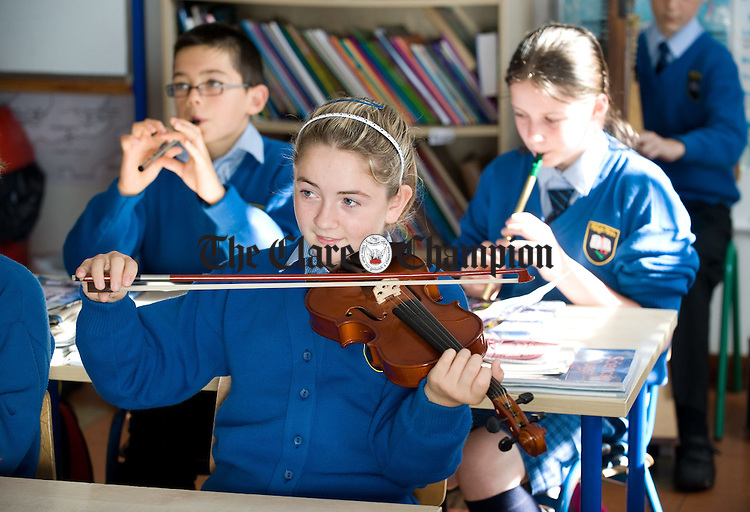 Ciara Mc Inerney on fiddle  at Moveen National School. Photograph by John Kelly.