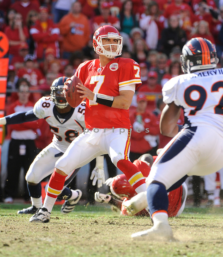 MATT CASSEL, of the Kansas City Chiefs, in action during the Chiefs game against the Denver Broncos on November 13, 2011 at Arrowhead Stadium in Kansas City, MO. Denver beat Kansas City 17-10.