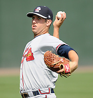 Pitcher Cody Martin (18) of the Rome Braves, Class A affiliate of the Atlanta Braves, prior to the first game of a doubleheader against the Greenville Drive on August 15, 2011, at Fluor Field at the West End in Greenville, South Carolina. Rome defeated Greenville, 6-3. (Tom Priddy/Four Seam Images)