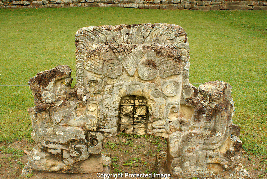 Two headed snake sculpture, at the Mayan ruins of Copan, Honduras. Copan is a UNESCO World Heritage Site.