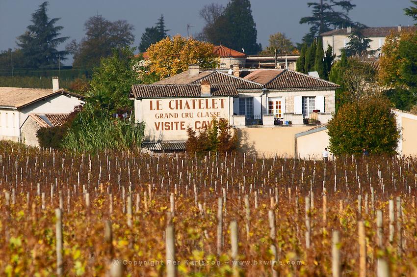 Vineyard. Winery building. Chateau Le Chatelet. Saint Emilion, Bordeaux, France