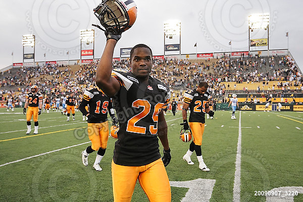 September 7, 2009; Hamilton, ON, CAN; Hamilton Tiger-Cats defensive back Lawrence Gordon (29). CFL football - the Labour Day Classic - Toronto Argonauts vs. Hamilton Tiger-Cats at Ivor Wynne Stadium. The Tiger-Cats defeated the Argos 34-15. Mandatory Credit: Ron Scheffler.