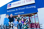 At the Official Opening  of World of Tiles, Manor Tralee on Saturday were Kevin McCarthy, Tony Cunnane, Jonathan Galvin, Ogie O'Leary, Reuben James O'leary, Sinead Galvin with Kerry and croke's star Johnny Buckley