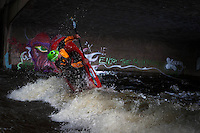 Nick Troutman in the Worlds Greatest Side Surf Hole at very high water, North Saint Vrain, Lyons, Colorado