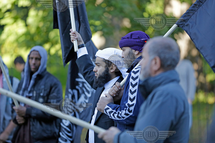 Radical muslims protest  a film mocking Islam outside the US embassy in Oslo, Norway. The gathering was small and passed peacefully.<br /> In the center: BASTIAN ALEXIS VASQUEZ . Presumed killed in Syria 2015.