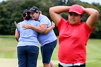 North Harbour celebrate forcing a playoff hole during their semi-final against Canterbury. Day Four of the Toro Interprovincial Women's Championship, Sherwood Golf Club, Whangarei,  New Zealand. Friday 8 December 2017. Photo: Simon Watts/www.bwmedia.co.nz
