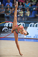 Daria Dmitrieva of Russia performs with hoop at 2010 Holon Grand Prix at Holon, Israel on September 3, 2010.  (Photo by Tom Theobald).