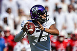 TCU Horned Frogs quarterback Kenny Hill (7) in action during the game between the SMU Mustangs and the TCU Horned Frogs at the Amon G. Carter Stadium in Fort Worth, Texas.