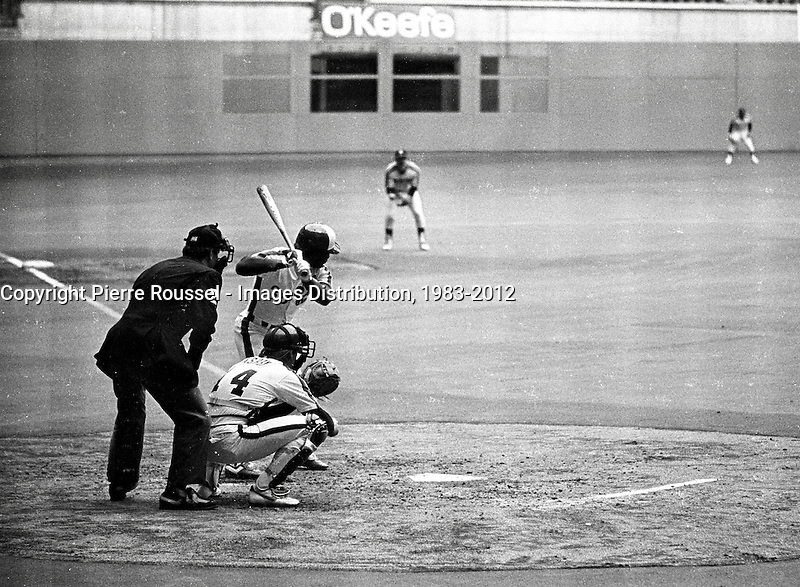April 6, 1983 file photo - Montreal, Quebec, CANADA -  Expos baseball match<br />  in Montreal Olympic stadium