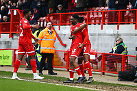 Ricardo German (13) of Crawley Town celebrates his goal in the first half during Crawley Town vs Oldham Athletic, Sky Bet EFL League 2 Football at Broadfield Stadium on 7th March 2020