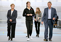31 October 2017 - Princess Kate, Duchess of Cambridge walks with the President of the LTA, Martin Corrie (R), and LTA Director of Human Resources Vicky Williams (L) during a visit at the Lawn Tennis Association (LTA) at the National Tennis Centre in southwest London. Duchess of Cambridge visited the LTA, the national governing body of tennis, where she was briefed on the organisations latest activities and objectives, and had the opportunity to watch a number of tennis demonstrations at the National Tennis Centre's on-court facilities. Photo Credit: ALPR/AdMedia