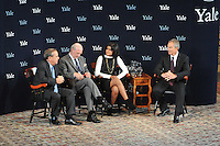 Tony Blair at Yale University speaking with President Richard Levin, Paul Kennedy & Lita Tandon '10 on September 19, 2008 in Woolsey Hall.