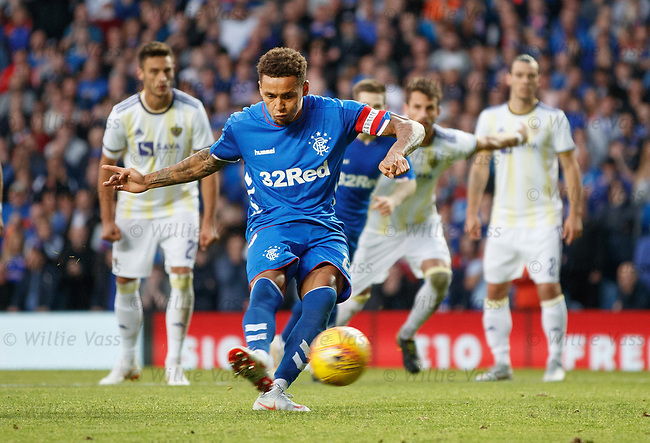 09.08.18 Rangers v Maribor: James Tavernier scores from the spot
