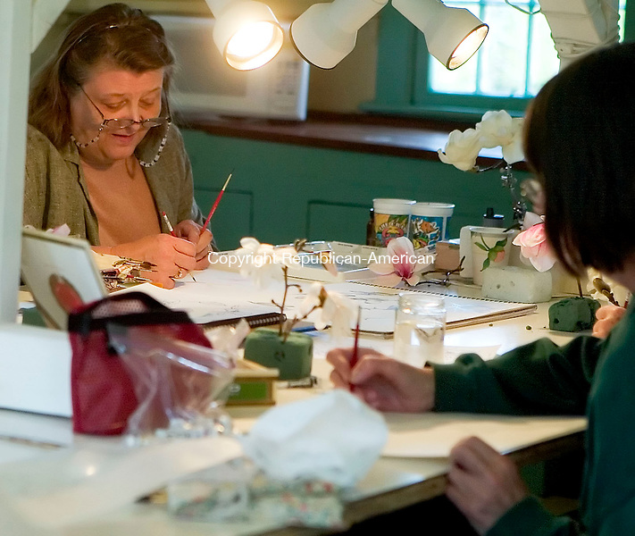 BETHLEHEM, CT- 24 APRIL 07- 042407JT17-<br /> Lorraine Evans of Bethlehem, at left, and Cathy Felten of Goshen at right during a watercolor workshop on magnolias taught by Betsy Rogers-Knox at the Bellamy-Ferriday House in Bethlehem on Tuesday, April 24. <br /> Josalee Thrift Republican-American