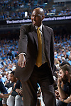 Wake Forest Demon Deacons head coach Danny Manning yells instructions to his team during second half action against the North Carolina Tar Heels at the Dean Smith Center on December 30, 2017 in Chapel Hill, North Carolina.  The Tar Heels defeated the Demon Deacons 73-69.  (Brian Westerholt/Sports On Film)