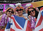 Three angels' in the crowd. IAAF world athletics championships. London Olympic stadium. Queen Elizabeth Olympic park. Stratford. London. UK. 11/08/2017. ~ MANDATORY CREDIT Garry Bowden/SIPPA - NO UNAUTHORISED USE - +44 7837 394578