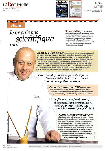 FRANCE, Paris, September 2009..Portrait of Thierry Marx in La Recherche magazine..FRANCE, Paris, Septembre 2009..Portrait de Thierry Marx dans le magazine La Recherche..© Bruno Cogez