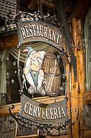 Close-up of restaurant sign in Bariloche, Argentina