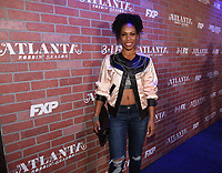 """LOS ANGELES - FEBRUARY 19: Angela Lewis arrives at the red carpet event for FX's """"Atlanta Robbin' Season"""" at the Ace Theatre on February 19, 2018 in Los Angeles, California.(Photo by Frank Micelotta/FX/PictureGroup)"""
