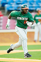Chantz Mack #2 of the Miami Hurricanes hustles down the first base line against the Wake Forest Demon Deacons at Gene Hooks Field on March 18, 2011 in Winston-Salem, North Carolina.  Photo by Brian Westerholt / Four Seam Images