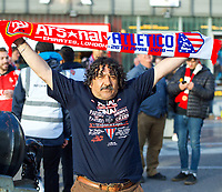 Atletico Madrid supporters ahead of the UEFA Europa League Semi Final 1st leg match between Arsenal and Atletico Madrid at the Emirates Stadium, London, England on 26 April 2018. Photo by Andy Aleksiejczuk / PRiME Media Images