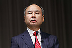 Masayoshi Son, SoftBank Group Corp. Chairman and CEO presents the second-quarter operating profit (July-September) for the group on November 6, 2017, Tokyo, Japan. SoftBank Group reported a 21 precent rise in second-quarter (July-September) operating profit to 395.6 billion yen ($3.46), up from 328.1 billion yen a year earlier, as the value of its growing technology investments increased. (Photo by Rodrigo Reyes Marin/AFLO)