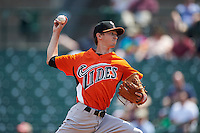 Norfolk Tides pitcher Zach Davies (15) delivers a pitch during a game against the Rochester Red Wings on May 3, 2015 at Frontier Field in Rochester, New York.  Rochester defeated Norfolk 7-3.  (Mike Janes/Four Seam Images)