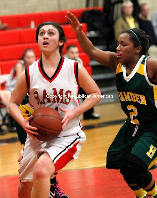 Cheshire, CT-16 February 2012-021612CM13-  Cheshire's Missy Bailey goes to the hoop against Hamden's Alivia Wilson (2) in Cheshire Thursday. Cheshire edged out Hamden 57-55.  Christopher Massa Republican-American