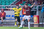 Borussia Dortmund Midfielder Christian Pulisic (L) fights for the ball with AC Milan Defender Ignazio Abate (R) during the International Champions Cup 2017 match between AC Milan vs Borussia Dortmund at University Town Sports Centre Stadium on July 18, 2017 in Guangzhou, China. Photo by Marcio Rodrigo Machado / Power Sport Images