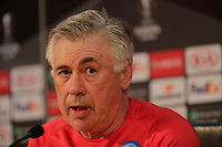 Press Conference Napoli at eve of Europe League quarter final 2 leg<br /> Carlo Ancelotti coach of Napoli