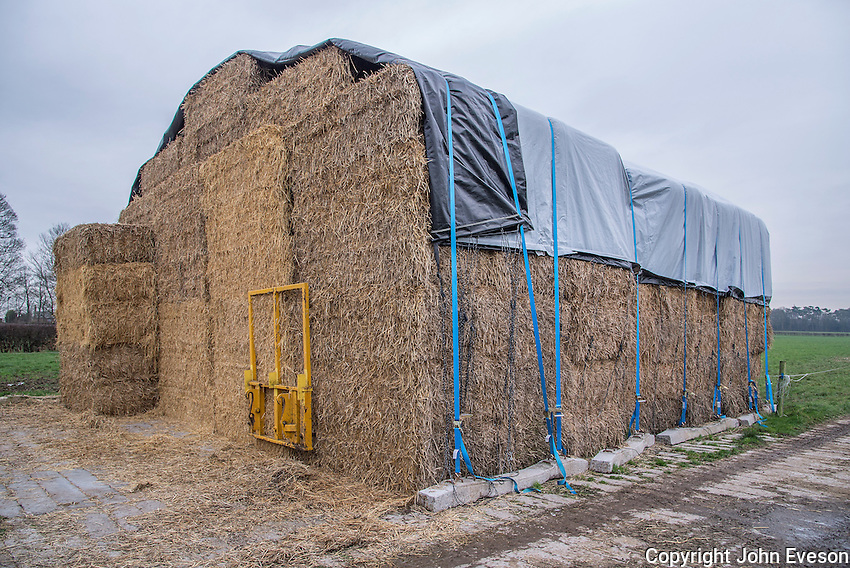 Covered straw stack, Cheshire, England.