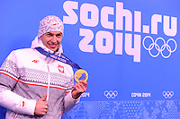 OLYMPICS: SOCHI: Medal Plaza, 16-02-2014, Men's 1500m, Zbigniew Brodka (POL), ©photo Martin de Jong