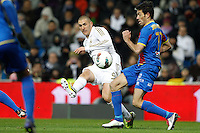 12.02.2012 SPAIN -  La Liga matchday 23th  match played between Real Madrid vs Levante at Santiago Bernabeu stadium (4-2) 13th Hat-trick of CR7 and leads by 10 points to Barcelona. The picture show Karim Benzema (French Forward of Real Madrid)