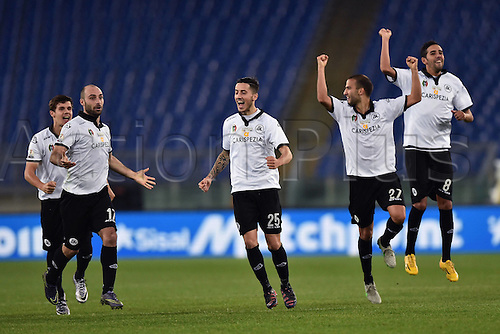 16.12.2015. Rome, Italy. Copa Italiana cup match between Roma and Spezia at Stadio Olimpico, Rome.  Spezia players Celebration  as they win the game The game ended in a 0-0 draw and Spezia won the penalty shoot-out by a score of 2-4.