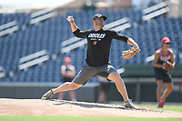 "Baltimore Orioles pitcher David Hess pitches in a ""Sandlot""-style game concluding a series of workouts with local MLB and MiLB players from around the Upstate region on Thursday June 25, 2020, at Fluor Field at the West End in Greenville, South Carolina. (Tom Priddy/Four Seam Images)"