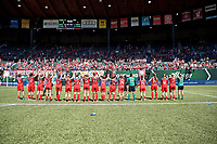 Portland, OR - Saturday August 05, 2017: Portland Thorns FC  after a regular season National Women's Soccer League (NWSL) match between the Portland Thorns FC and the Houston Dash at Providence Park.